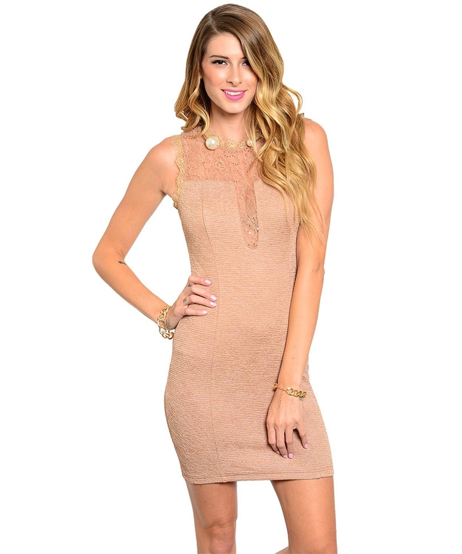 Partykleid / Minikleid mit Spitze und Pailletten - beige