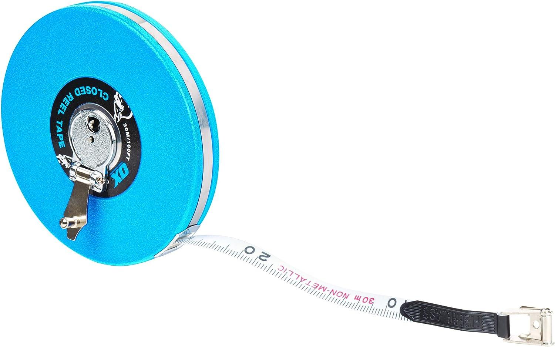 Blue//Black OX Trade Closed Reel Measure Tape 30 m//100 ft