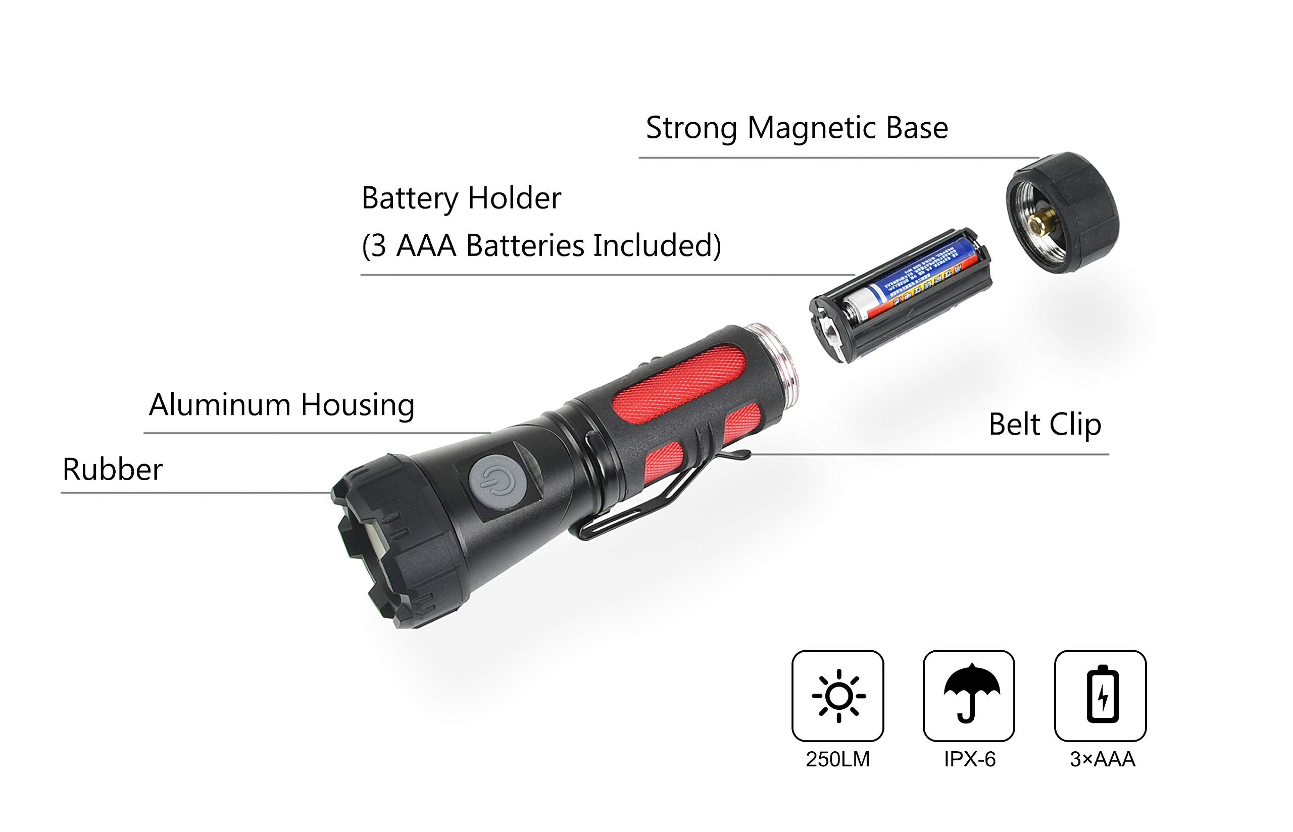 FLOWood LED Flashlight Torch Tactical Torch,Magnetic Adjustable-Head Portable LED Flashlight with Batteries,1000LM Handheld Flashlight for Camping Hiking Indoor Outdoors [Energy Class A+]