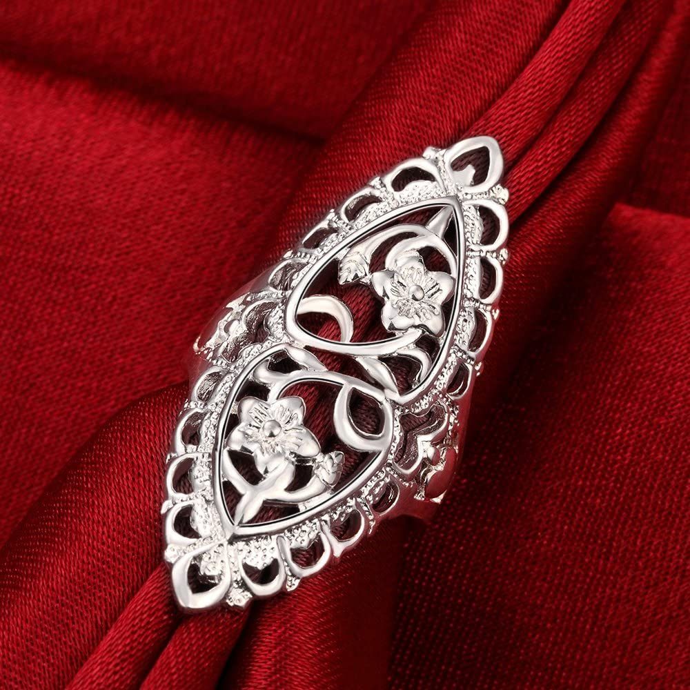 Xiaodou Sterling Silver Ring High Polish Tarnish Resistant Comfort Fit Carved Filigree Vintage Style Ring