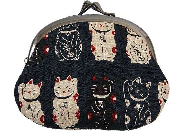 招き猫 がま口 京都職人手作り 財布 小銭入れ 猫柄 日本製 ブラック