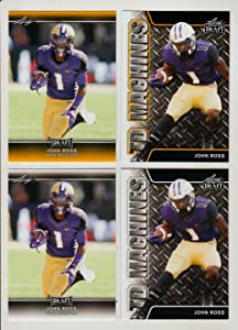 (4) JOHN ROSS 2017 LEAF DRAFT GOLD (4) CARD ROOKIE LOT! NFL FASTEST 40 YARD DASH - 4.22 SEC! W/H TOP LOADER!