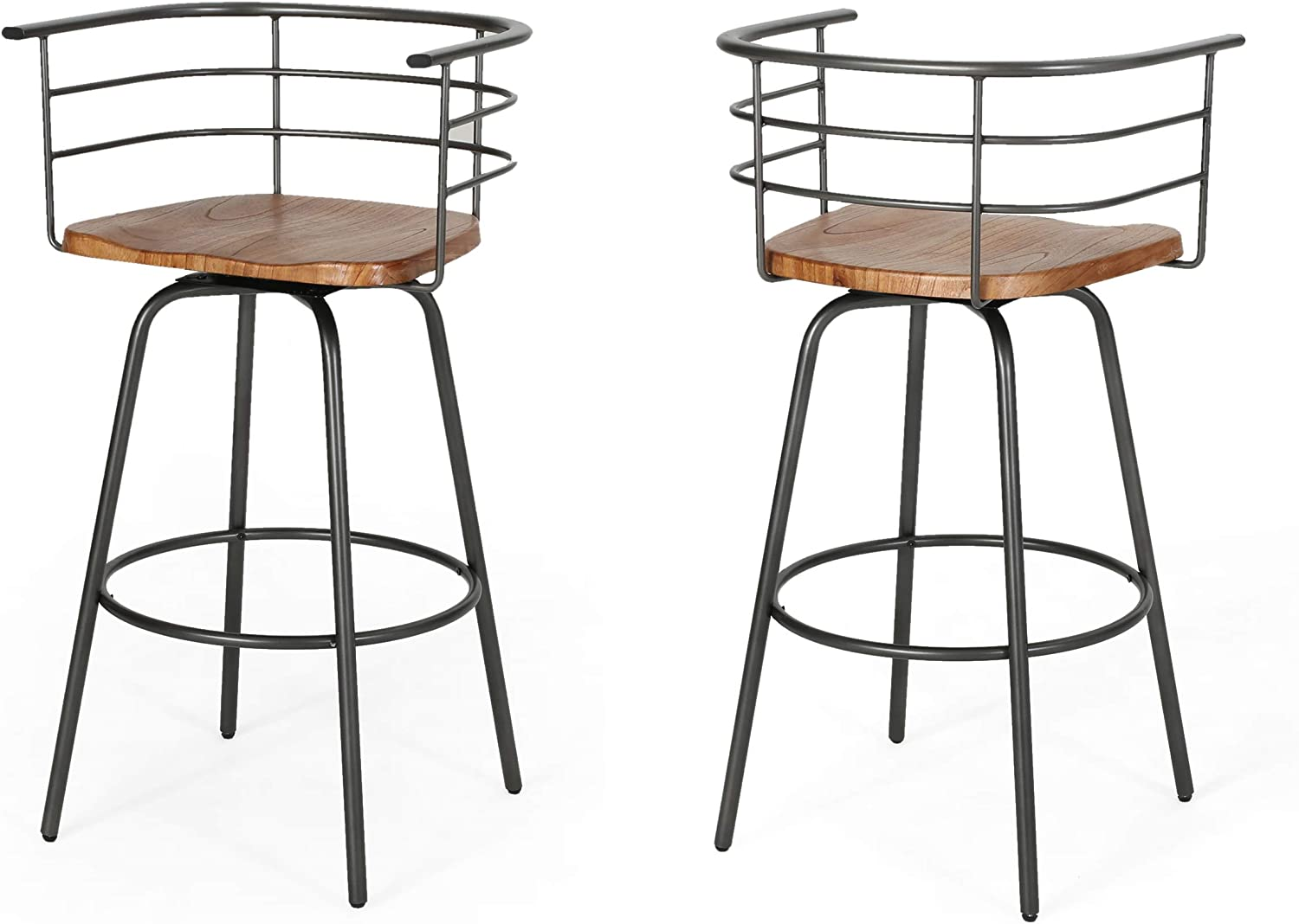"""Christopher Knight Home Jasmine Industrial Modern 29"""" Swivel Barstool with Rubberwood Seat (Set of 2), Dark Brown and Gray"""