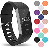 Yousave Accessories Fitbit Charge 3 Strap, Replacement Silicone Fitbit Charge 3 Wristband, Sport Wrist Strap for the Fitbit Charge 3 - Available in 15 Colours