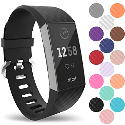 Yousave Accessories Fitbit Charge 3 Strap, Replacement Silicone Fitbit  Charge 3 Wristband, Sport Wrist Strap for the Fitbit Charge 3 - Available  in 15