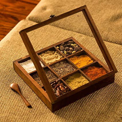 97963b4a2ca1 ExclusiveLane Sheesham Wooden Table Top Masala Dabba Containers Jars Cum  Kitchen Spice Box with Spoon (Brown)