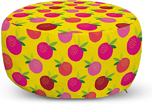 Amazon Com Ambesonne Fruit Ottoman Pouf Colorful Garden Polygonal Apple And Leaves Theme Of Summer Freshness Decorative Soft Foot Rest With Removable Cover Living Room And Bedroom Yellow Pink And Magenta Furniture