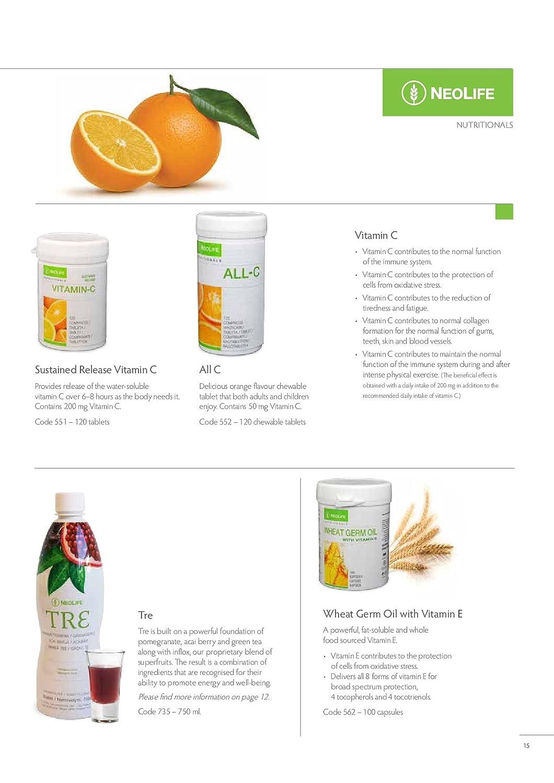Neolife All C. Vitamina C. Deliciosas pastillas masticables (120 cápsulas). De regalo como primer cliente, una muestra de producto Neolife.