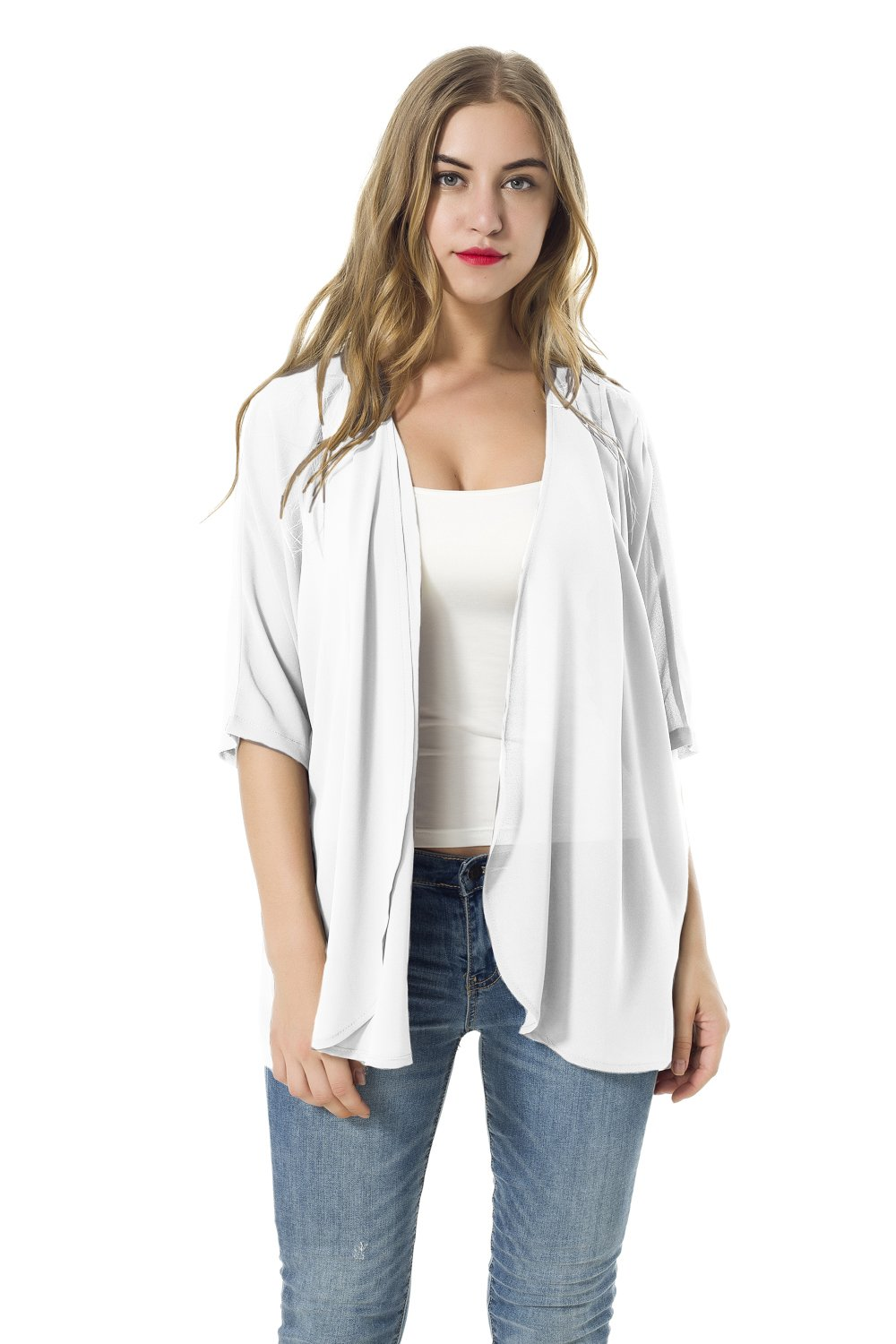NB Women's Short Sleeve Beachwear Sheer Chiffon Kimono Cardigan Solid Casual Capes Beach Cover up Blouse (L, White)