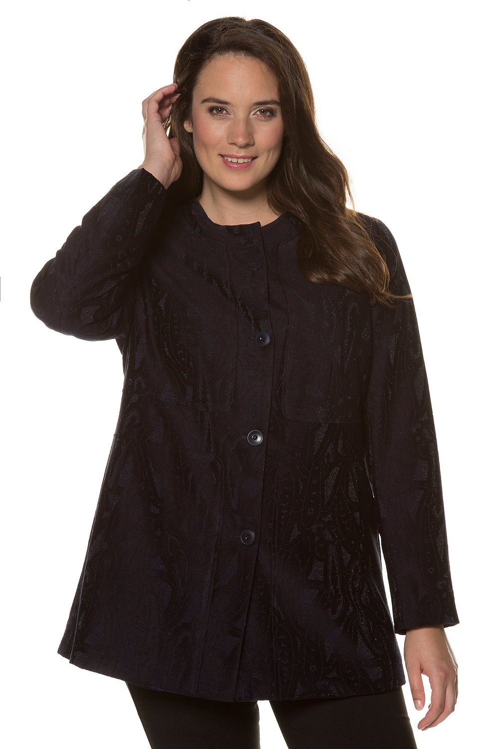 Ulla Popken Women's Plus Size Black Paisley Metallic Jacket Midnight Blue Multi 28/30 713730 70