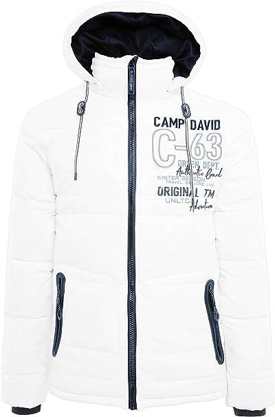 Camp David Herren Steppjacke mit Kapuze, Tapes und Artworks