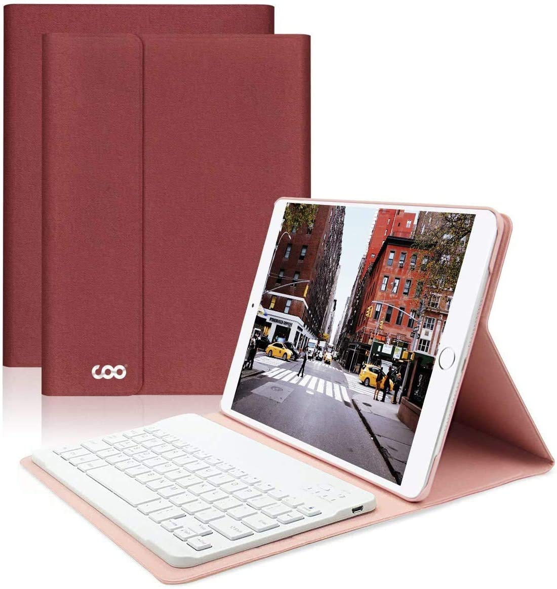 iPad Keyboard Case 6th Generation 2018 for iPad Pro 2017 (5th Gen) - iPad Air 2/1 - COO Detachable Wireless Bluetooth Keyboard - Magnetic Auto Sleep/Wake (Red with White Keyboard)