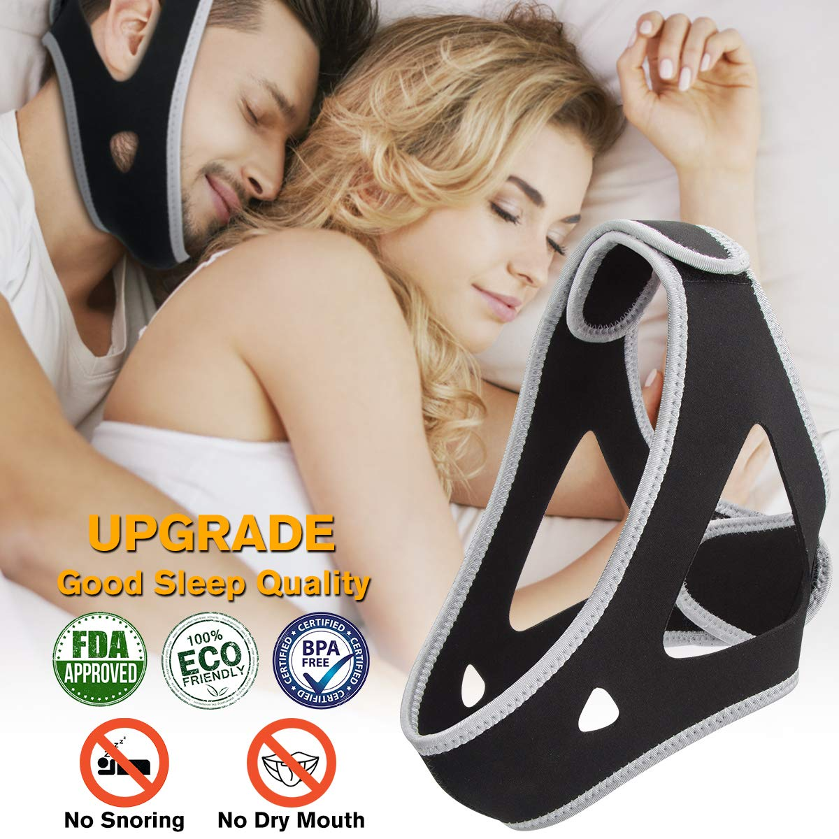 Anti Snoring Chin Strap, Snoring Solution and Anti Snoring Devices, Snoring Chin Strap for Sleep, Adjustable and Flexible Snore Chin Strap for Sleeping, Stop Snoring Devices for Men Women Kids