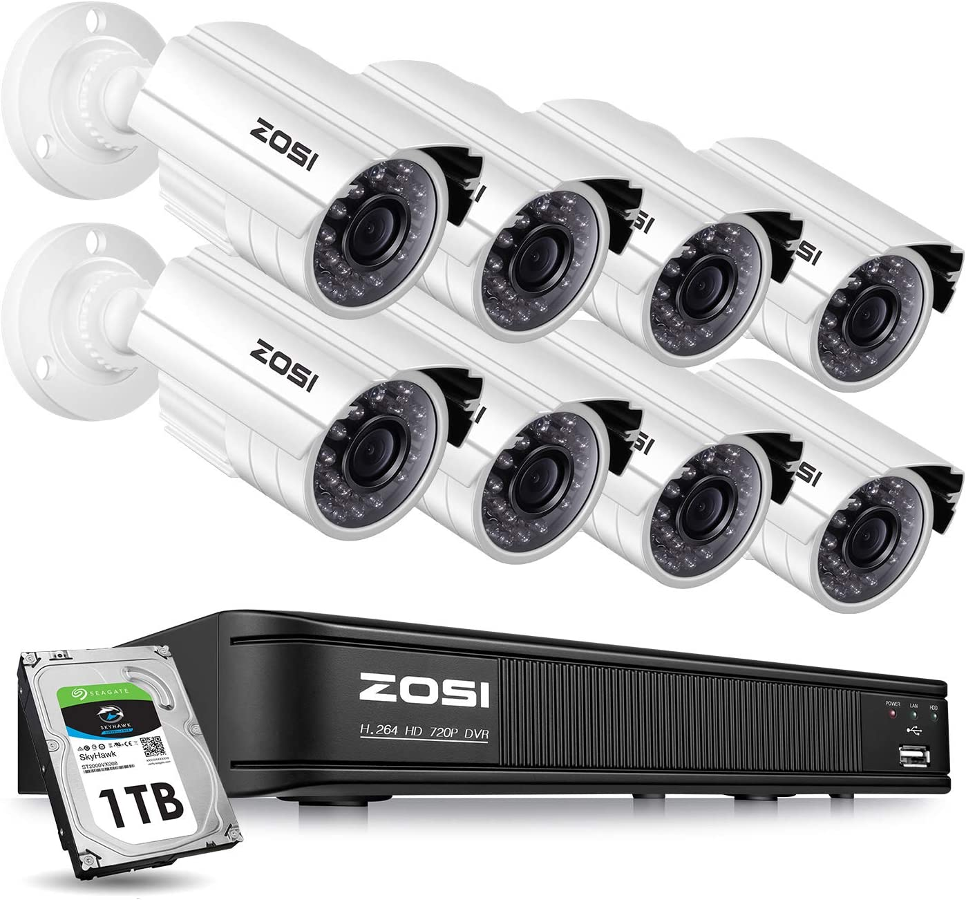 ZOSI 8 Channel Video Security Camera System,1080P Lite 720p Surveillance CCTV DVR and 8 x 720p Weatherproof Bullet Camera Indoor Outdoor with 65ft 20m IR Night Vision LEDs- 1TB HDD Built-In