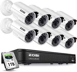 ZOSI 8 Channel Video Security Camera System,1080P Lite/720p Surveillance CCTV DVR and 8 x 720p Weatherproof Bullet Camera Indoor/Outdoor with 65ft(20m) IR Night Vision LEDs- 1TB HDD Built-In