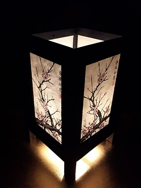 Lovely Asian Oriental Japanese Cherry Blossom Tree Art Bedside Desk Table Lamp  8u0026quot; Height Accessories Bedside