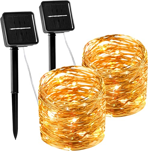 Solar String Lights, Starry String Copper Wire Lights Outdoor Indoor Waterproof Fairy Lights for DIY Decor Patio, Garden,Wedding Party Christmas 2 Pack 100 LED 33ft 8 Modes Warm White