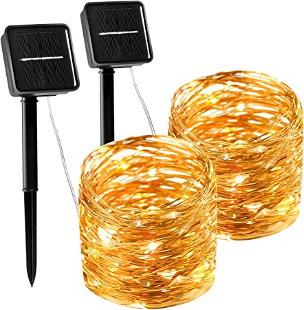 Amazon Com Laboreducer Solar String Lights Copper Wire Fairy String Lights With 8 Modes 2 Pack 100 Led 33ft Waterproof Outdoor Decoration Lights For Diy Patio Garden Wedding Christmas Party Warm White