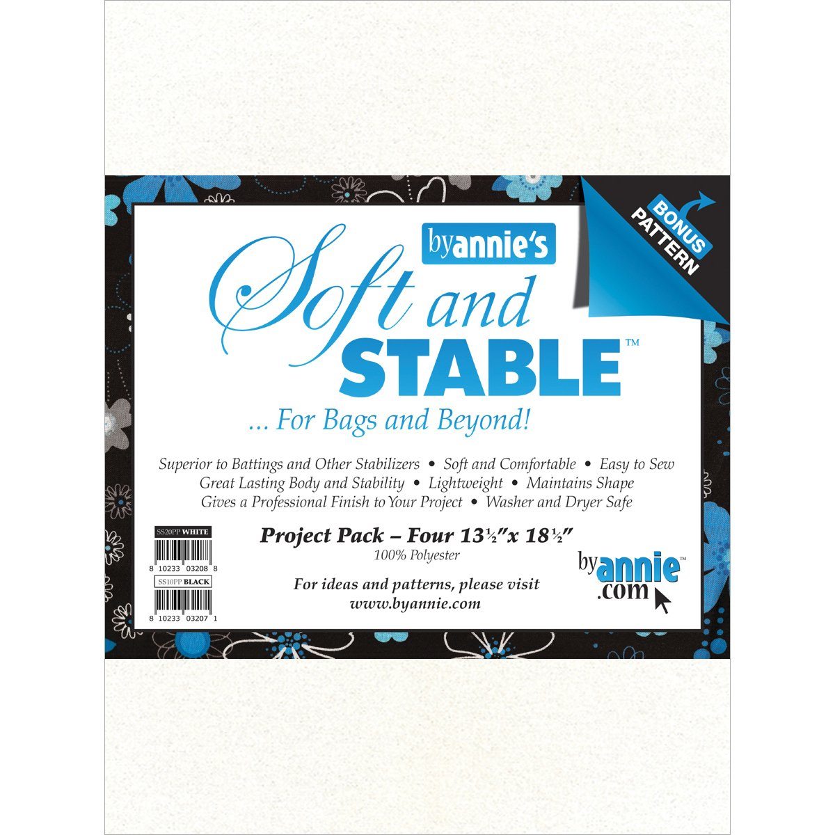 By Annie Soft and Stable Project Pack, 13-1/2 by 18-1/2-Inch, White, 4 Per Package S&S20PPW