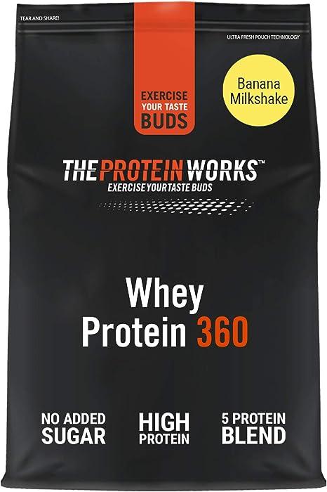 THE PROTEIN WORKS Whey Protein 360   Batido Alto En Proteínas Para Construir Músculo  Combinación TRI-Proteica   Plátano Suave   2.4kg