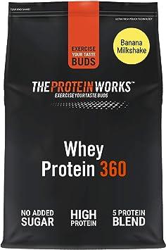THE PROTEIN WORKS Whey Protein 360 | Batido Alto En Proteínas Para Construir Músculo| Combinación TRI-Proteica | Plátano Suave | 2.4kg