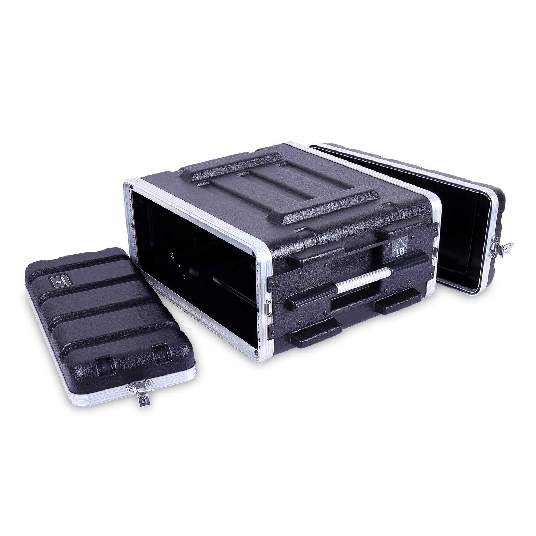 Crossrock Stackable 4U Rack Case, Strong Molded with Heavy Duty Hardware, Standard 19.25'' Depth (CRA8604U)