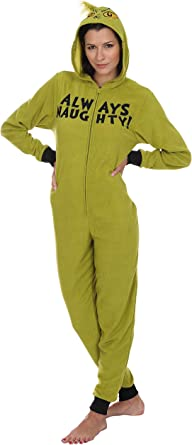 Details about  / Dr Seuss Women/'s The Grinch Hooded Pajama Union Suit Lounge Christmas XL NWT