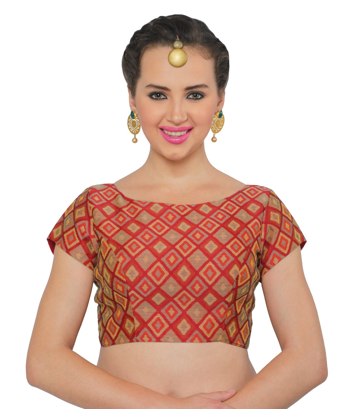8d3196ecfd9bf Studio Shringaar Women s Brocade and Georgette Benaras Readymade Saree  Blouse with Boat Neck and Short Sleeves
