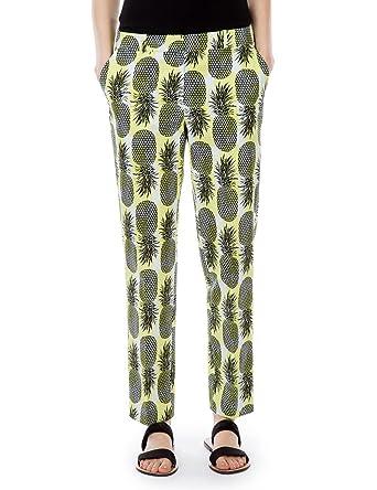 Femme Pantalon Capri Ananas Monoprix Taille46 Imprimé BedrCxo