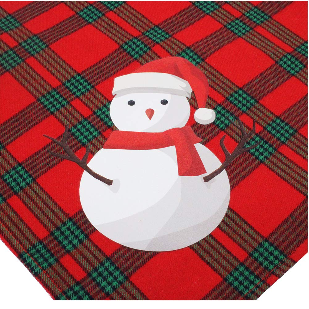 Elk+Snowman Yu-Xiang 2 Pack Santa Claus Head Red and Green Plaid Dog Bandans Pet Christmas Saliva Towel Pet Elk Neck Dress Scarf Snowman Bib Christmas Headwear Large Dogs Costumes