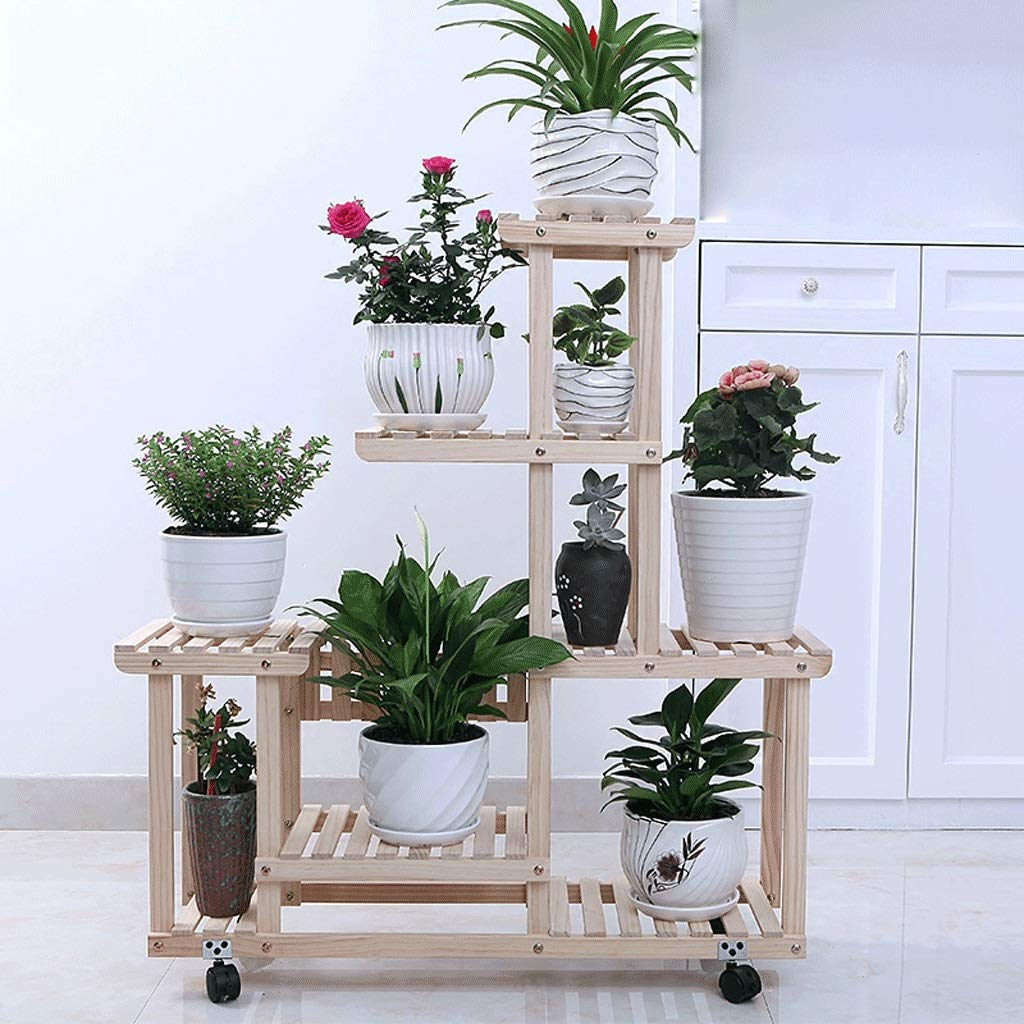 WYY Flower Stand Multi-Story Indoor Living Room Balcony Floor-Standing Multifunctional Solid Wood Wheeled Flower Pot Shelf by WYY