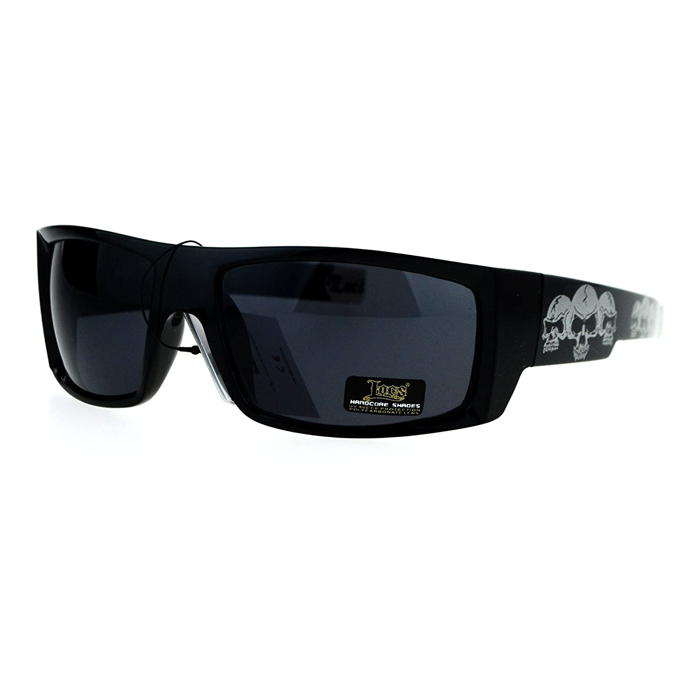 97172d7b966 Amazon.com  Locs Skull Print Rectangular Gangster Cholo Sport All Black  Sunglasses Blue  Clothing