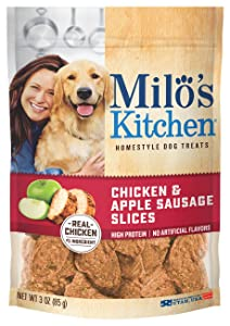 Milo's Kitchen Chicken and Apple Sausage Slices Dog Treats, 3 oz