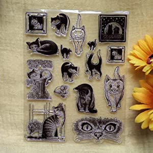 GAOZONGTER Cartoon Cats Family Clear Stamps for Card Making and Scrapbooking Silicone Stamps Transparent Stamps Album Photo Decor