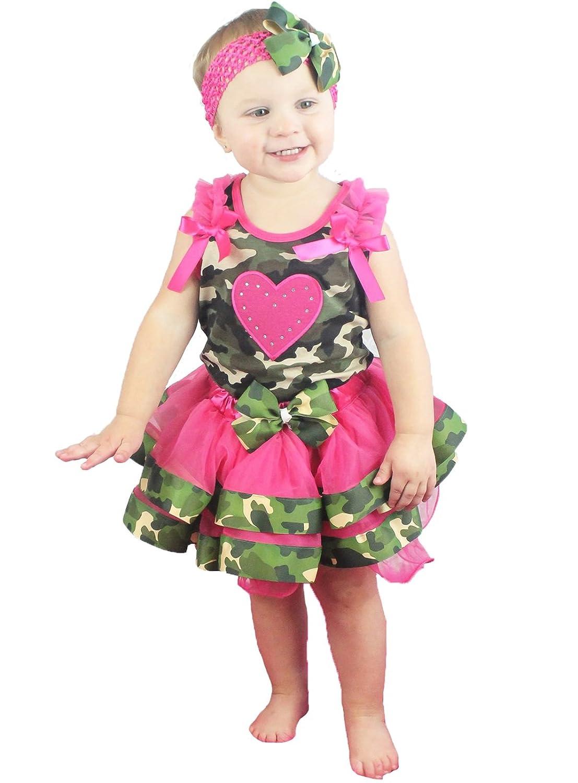 Valentine Dress Hot Pink Heart Shirt Camouflage Petal Skirt Set 1-8y
