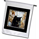 3dRose fl_180845_1 Beautiful Black Cat with Gold Eyes in The Garden in The Winter Garden Flag, 12 by 18-Inch