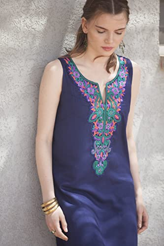 fe06c2ccdf Amazon.com  Navy Blue embroidered Short Women Dress