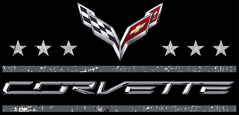 JH DESIGN GROUP Mens Chevy Corvette T-Shirt Stars /& Bars C7 Black Crew Neck Shirt