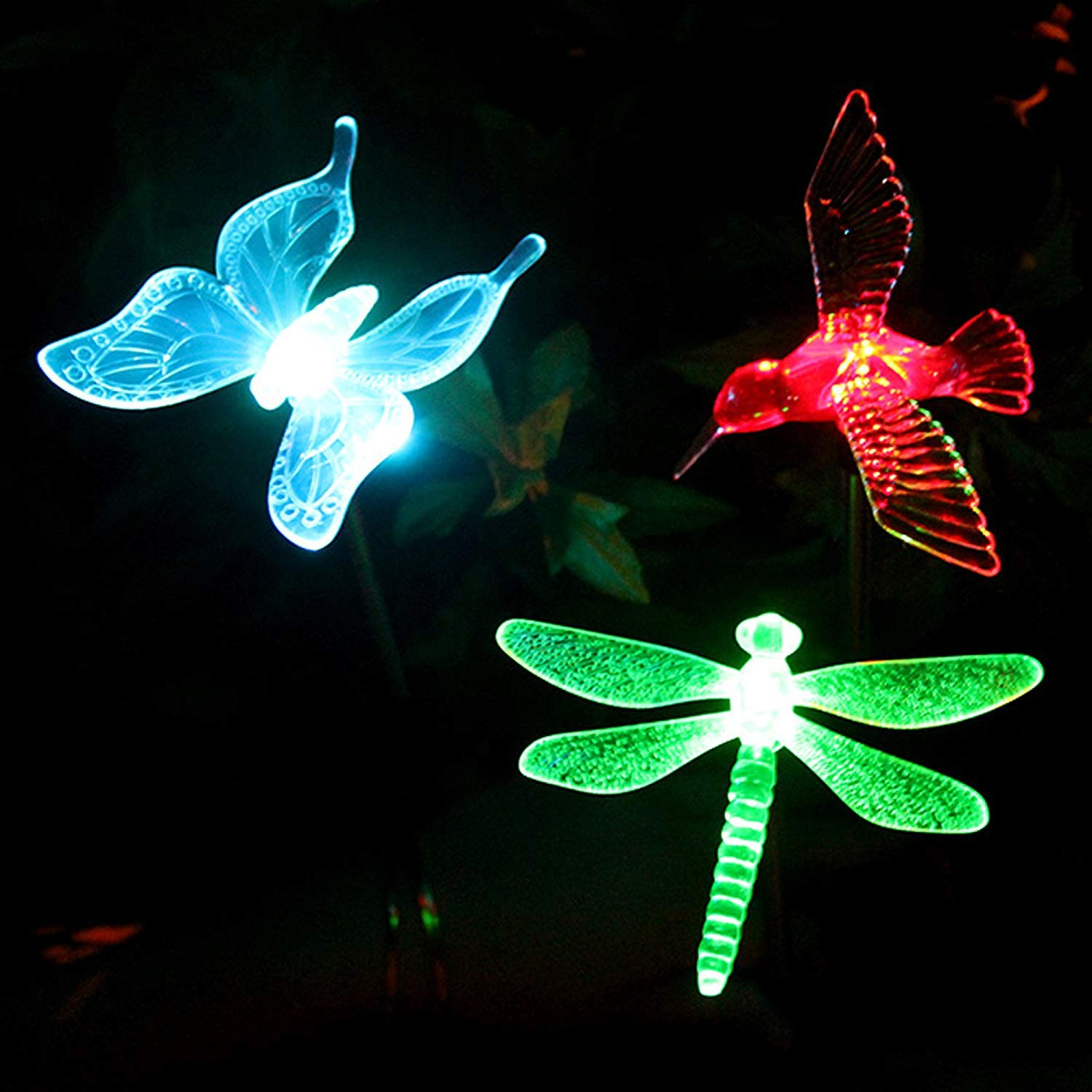 Solar Garden Lights Outdoor - Voona 3-Pack Color Changing LED Stakes with Clear Butterfly Dragonfly Hummingbird Stake Mixed for Outdoor Garden Pathway Lawn Yard Decoration
