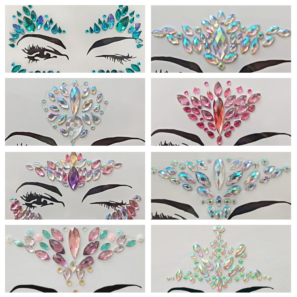 1PCS Temporary Rhinestone Tattoo Stickers Crystal Face and Eyeshadow Decoration Holiday for Music Rave Festivals Party Accessories MENGZHEN