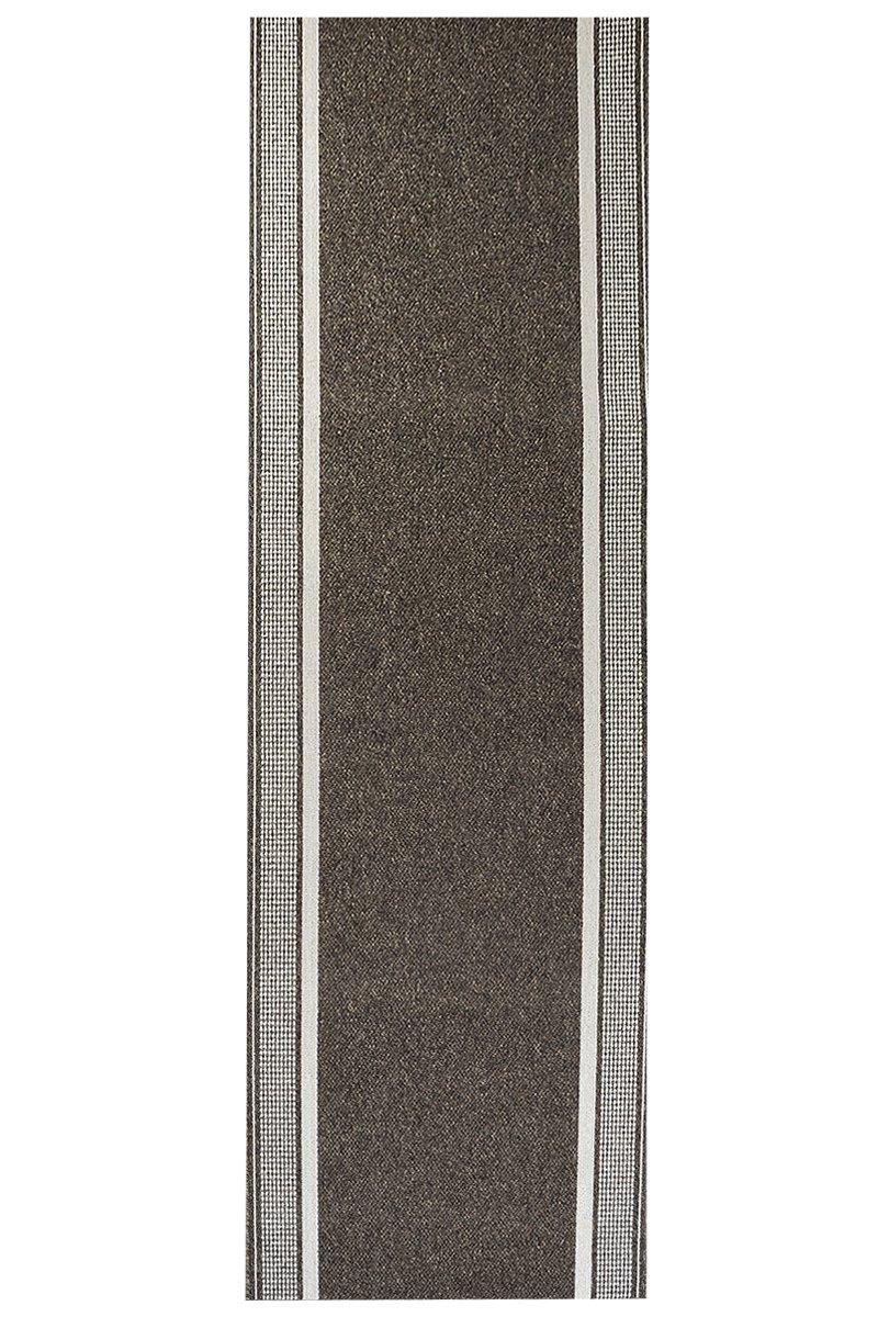 Teppich Schlingen Läufer Marathon - schadstoffgeprüft pflegeleicht | robust strapazierfähig schmutzabweisend | Diele Flur Schlafzimmer, Farbe:Braun, Größe:67 x 500 cm