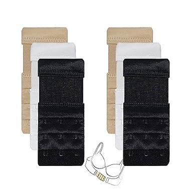 Pack of 2 Elastic Bra Strap Extenders 2 or 3 Hook Black White Nude Extra Comfort