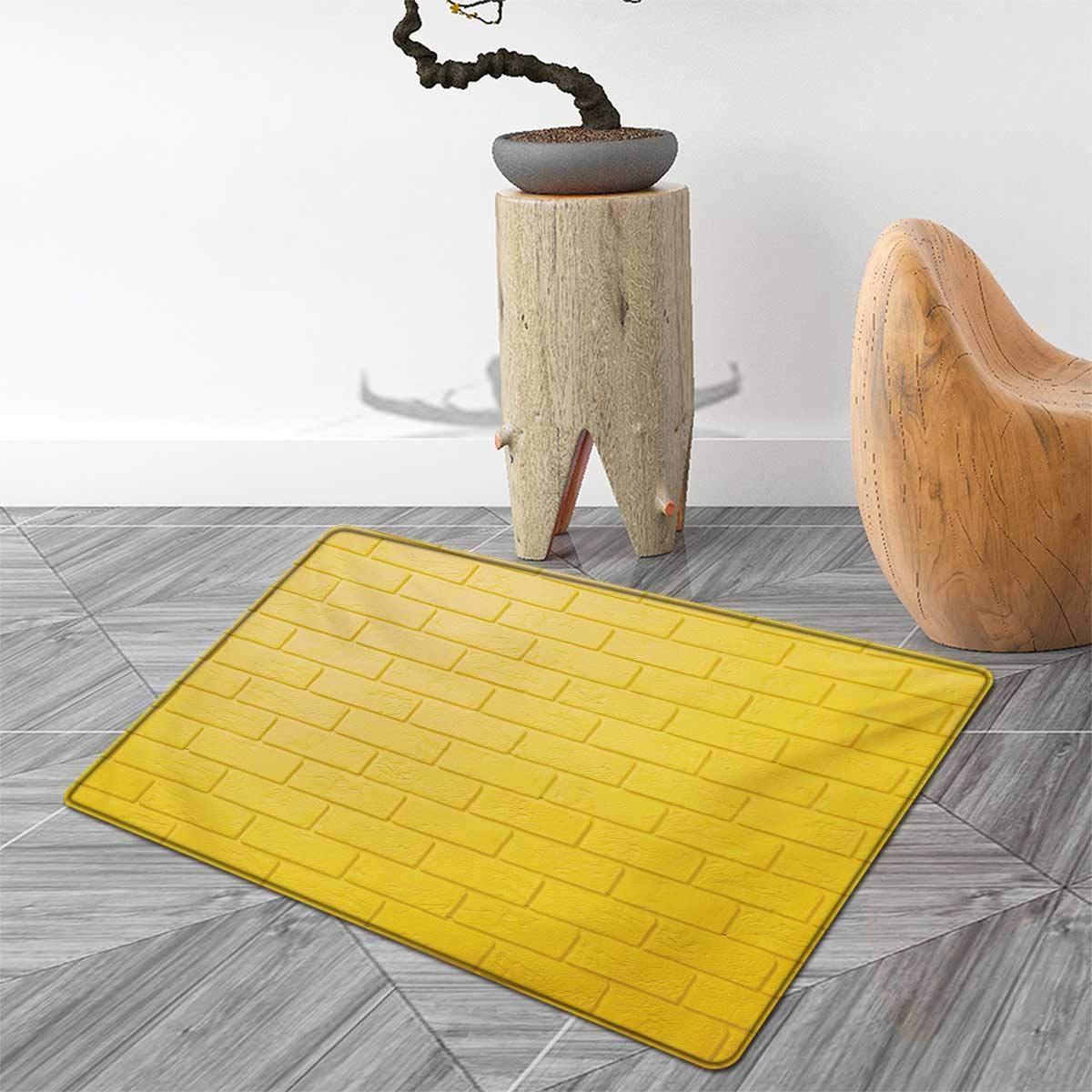 Mustard Door Mat Indoors Monochrome Brick Wall Urban Concept Modern Stylized Abstract City Life Picture Customize Bath Mat with Non Slip Backing 2'x3' Earth Yellow