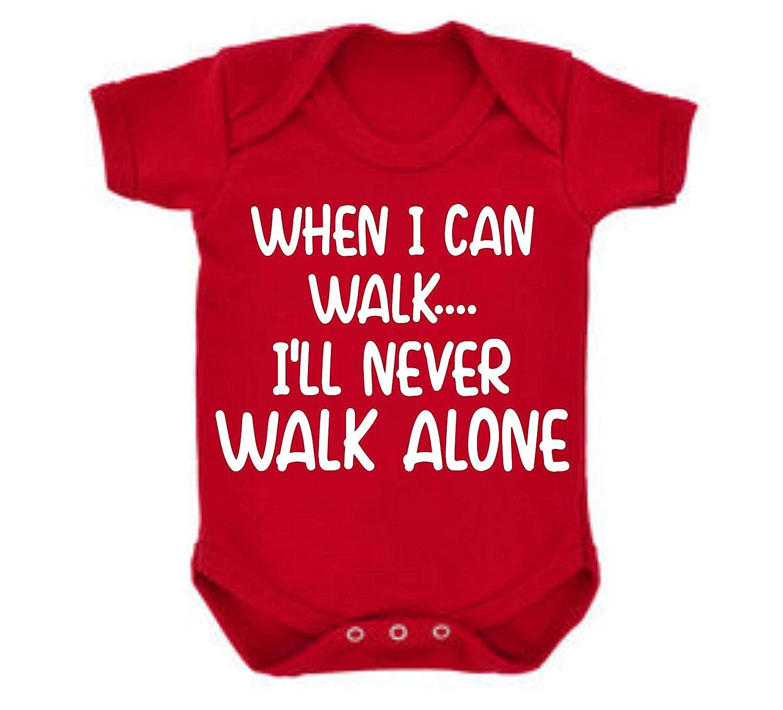 Liverpool When I can Walk Ill NeverWalk Alone Football Fan Baby Grow Vest Boy Girl Gift Romper Newborn Shower