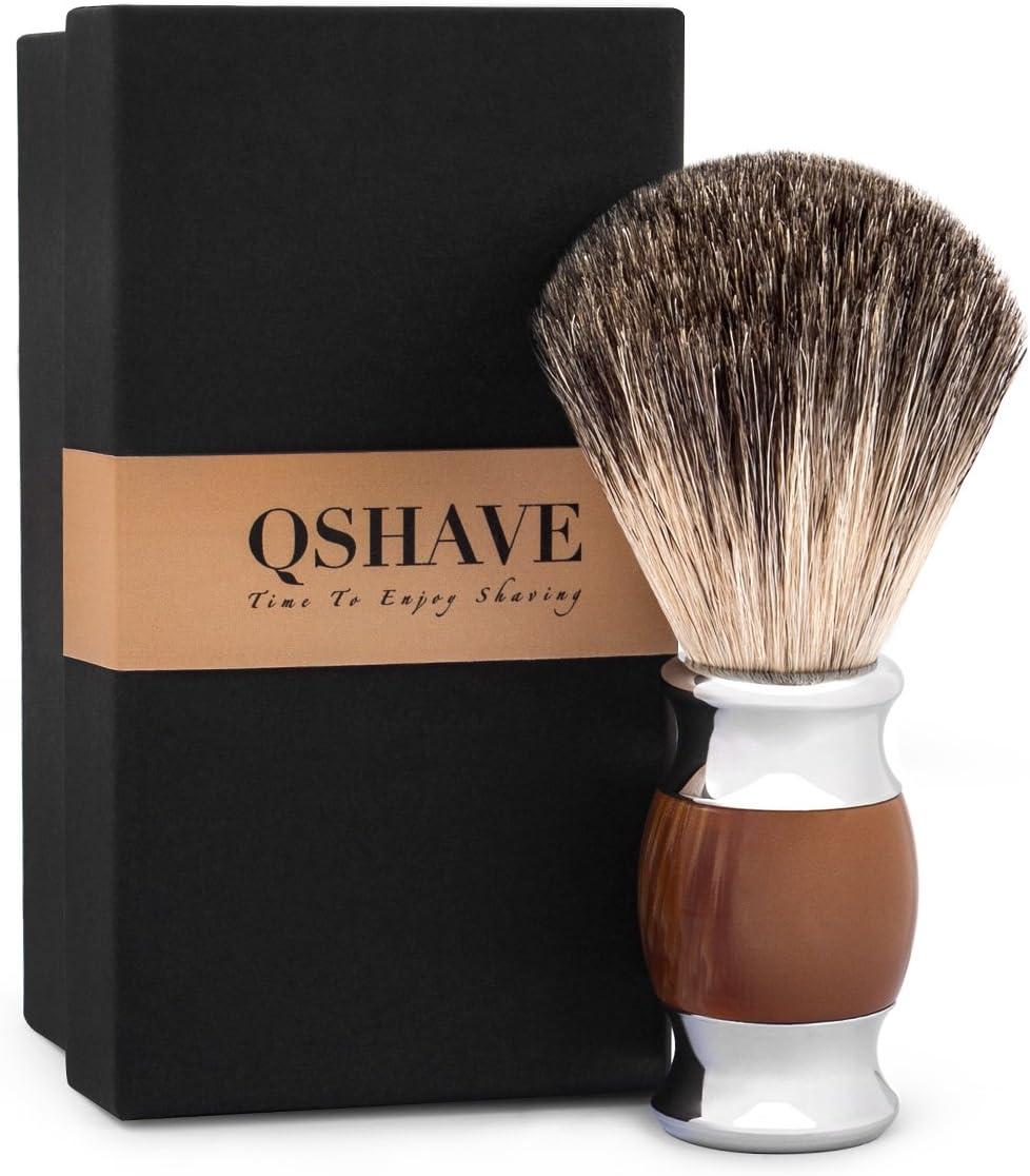 QShave - Brocha de afeitar, 100% pelo de tejón auténtico y puro y ...