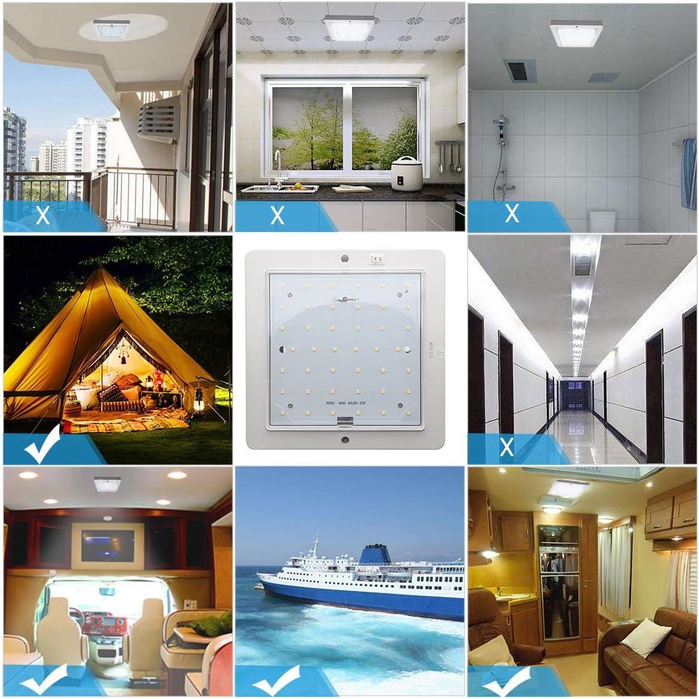Maso camping-car LED triangulaire en acier inoxydable avec interrupteur marche//arr/êt 12 V etc. bateau bus pour caravane