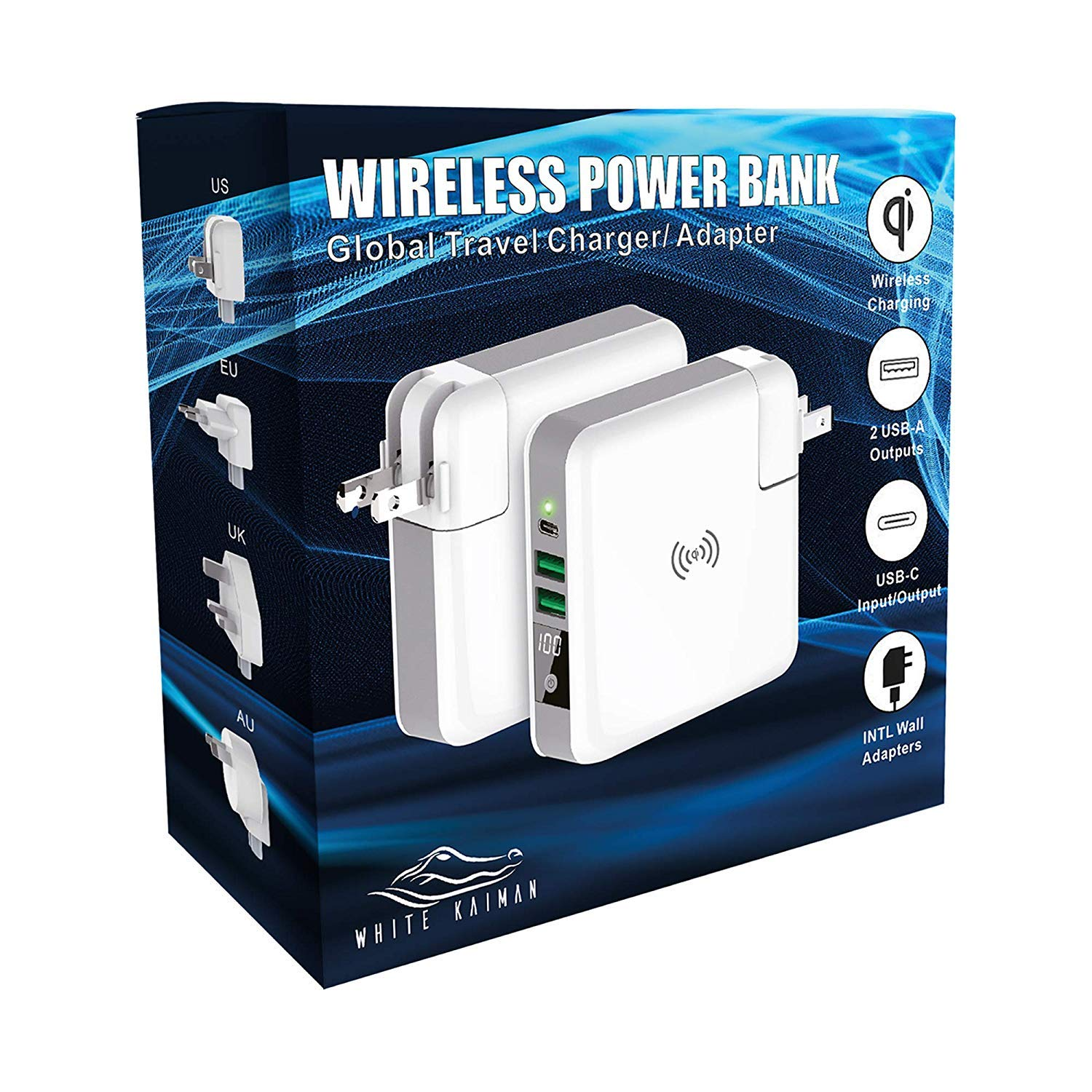 White Kaiman Global Travel Wireless Power Bank -External Wall Charger w/Qi Wireless Super Charging Pad Compatible for iPhone, Samsung Galaxy & iPads (Power Bank w/International Adapters)