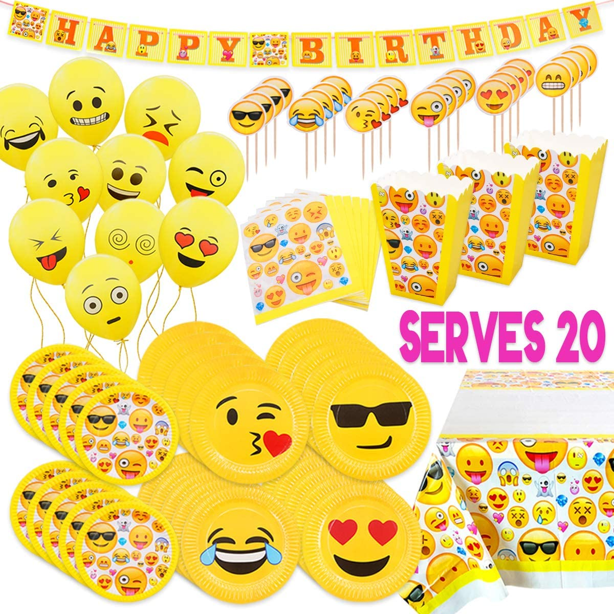 MelonBoat Emoji Party Supplies Birthday Decorations Kit, Plates, Napkins, Tablecloth, Popcorn Boxes, Cake Toppers, Banners, Latex Balloons, 102 ct, Serves 20