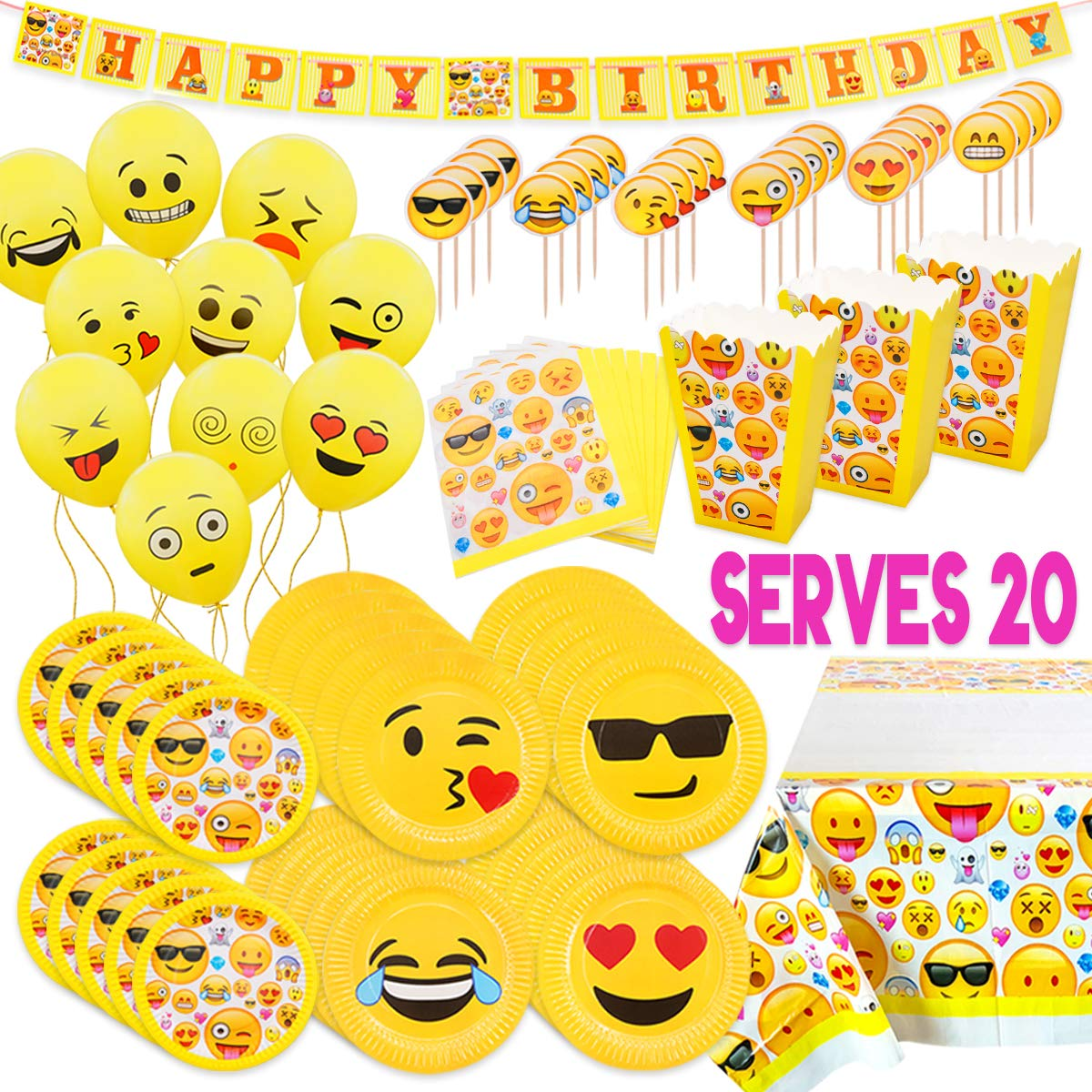 MelonBoat Emoji Party Supplies Birthday Decorations Kit, Plates, Napkins, Tablecloth, Popcorn Boxes, Cake Toppers, Banners, Latex Balloons, 102 ct, Serves 20 by MelonBoat