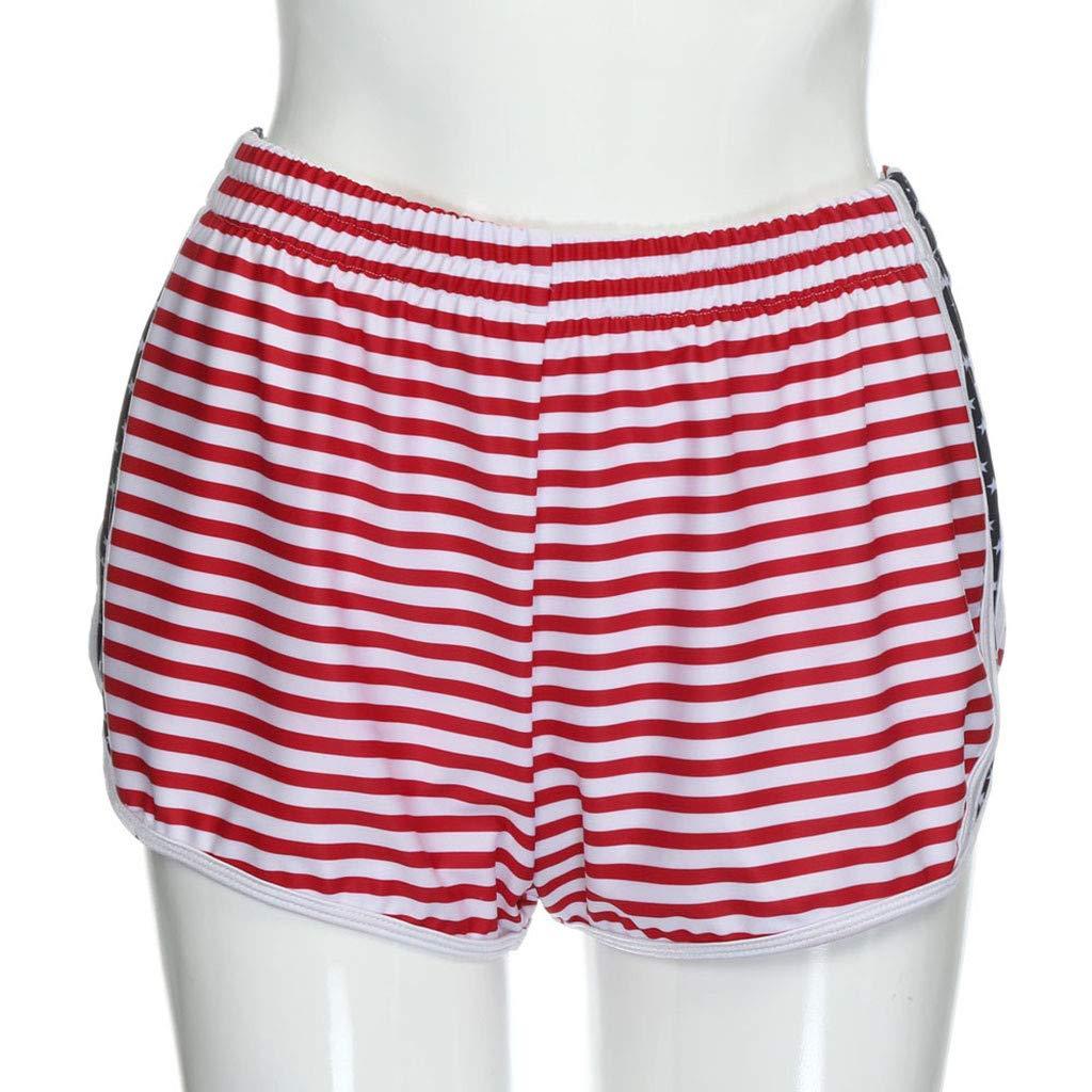 Women Summer Beach Shorts 4th of July USA Flag Printed Mid Waist Boardshorts with Drawstring